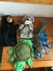 Lot of CalToy Plush Gray Dinosaur Green Turtle Black Bear & Mouse Hand Puppets –