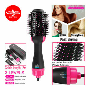 4 In 1 Hot Air Hair Dryer Negative Ion Comb Blow Dryer Styling Straight Curl