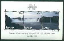 ICELAND #830 Souvenir Sheet Waterfalls og, NH, VF, Scott $11.50