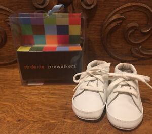 Stride Rite Prewalkers Baby Shoes Size 2 (3-6 Months) White Leather NEW!