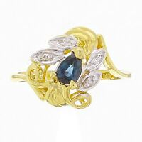 14k Yellow Gold Sapphire & Diamond Accent Vine & Leaf Ring Size 6