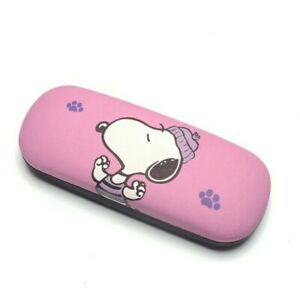Cute Hot Pink Cartoon Snoopy Portable Small Hard Eyeglass Case New