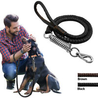 Genuine Leather Dog Lead Strong Braided Heavy Duty Anti Shock Stop Pulling Leads