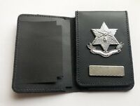 Leather Police Style Warrant Card Wallet Holder With Attached Crest Badge-Ref1b