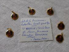 lot de 6 medailles Sainte THERESE metal doré + Email couleur marron / rose
