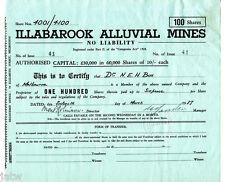 Share Scrip - Mining. 1937 Illabarook Alluvial Mines N/L. Vic