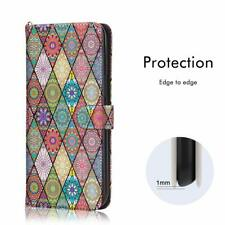 iPhone XR Wallet Case Durable Leather Card Slots Magnetic Close Mandala Flowerds