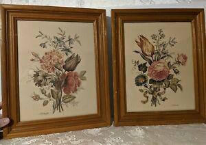 2  Vntg Roubillac Framed Botanical Floral Prints Flowers Artwork Summer Cottage