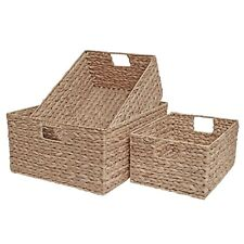 Wicker Drawer Basket Shelf Home Office Storage Natural Water Hyacinth