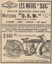 Y7688 Les Motos SIC Moteurs D.K.W. - Pubblicità d'epoca - 1925 Old advertising