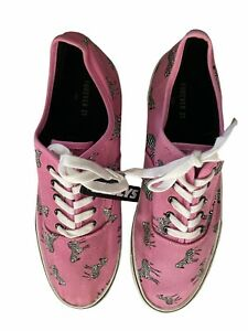 men's Forever 21 pink Zebra canvas sneakers shoes size 12 new