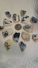 Surf Tumbled Blue English Pottery Shards 14 Smooth Edged Pieces Lot 8