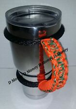 Paracord Handle for a 40oz, 30oz or 20oz, RTIC, Miami Hurricanes Team Colors