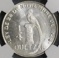 1949 NGC MS 64 Guatemala 1/4 Quetzal Bird Silver Coin 25k Minted (18112401C)