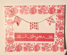 """Red Roses  """"I LOVE YOU"""" Banner Handmade Greeting Card with White Envelope"""