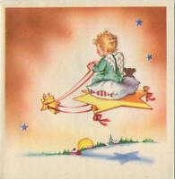 VINTAGE CHRISTMAS BOY CHERUB ANGEL STAR KITE FLYING BLONDE HAIR GREETING CARD
