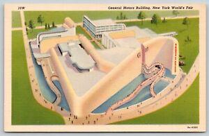 New York City 1939 World's Fair~General Motors Building~ART DECO Linen Postcard