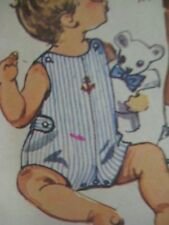 Vtg 70's Simplicity 8989 ROMPER SNAP-LEG OVERALLS Sewing Pattern Toddler Child