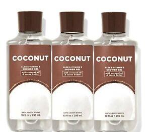 3 BATH & BODY WORKS SHOWER GEL BODY WASH ALOE & VITAMIN E COCONUT 10 OZ NEW