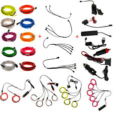 1x 5x 1M LED Neon EL Wire Light Glow String Strip + Controller + Splitter SS0017
