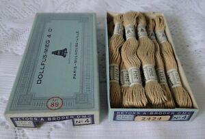 DMC DOLLFUS MIEG 8 échevettes coton retors à broder art.89 N° 4 réf 2424 boite
