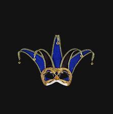 Masque de Venise Jolly A Pointes Colombine Bleu Noir Authentique Venitien  488