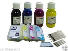 Refillable Pigment ink cartridge for HP 940 XL Pro 8500a with chip + 4x100ml Pg