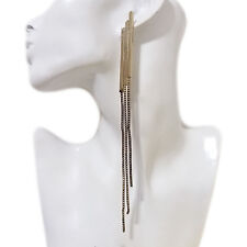 Elegant Fashion Womens Evening Cocktail 17cm Long Chain Fringe Pierced Earrings