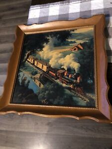 Rare PAUL DETLEFSEN print Steam train iron Horse