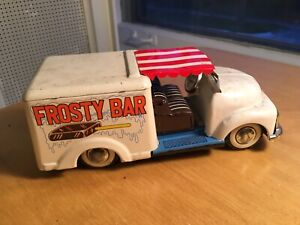 VINTAGE FROSTY BAR ICE CREAM TRUCK - FRICTION CAR TIN TOY JAPAN