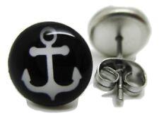 Black & White Anchor Stud Post Earrings - Brand New - Pair