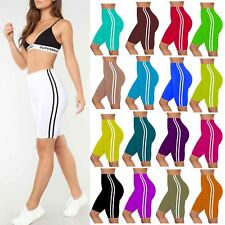 Women Ladies Active Gym Side Stripe Cycling Shorts Summer Tights Biker Hot Pants