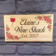 Large Personalised Wine Shack Plaque / Sign - Pink Roses She Shed Nan Mum House