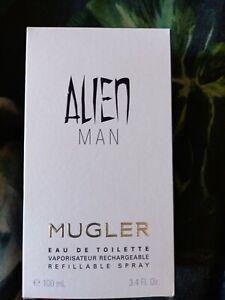 Mugler Alien Man Refillable 100ml EDT Spray Authentic New Boxed Sealed