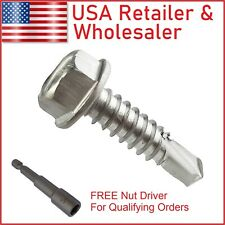 Hex Washer Head Self-Drilling Tapping Sheet Metal Tek Screw 410 Stainless Steel