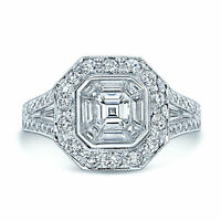 18k White Gold Asscher Trapezoid Diamond Mosaic Invisible Engagement Ring