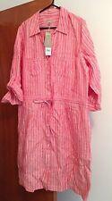 Knee Length Linen Stripes Dresses for Women