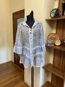 ELISA CAVALETTI CLUB ASH WASHED DOVE BLUE EMBROIERED TIERED SHIRT-SIZE S