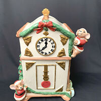 Fitz & Floyd OCI 1996 Christmas Mice Decorating Grandfather Clock Cookie Jar