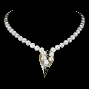Baroque White Pearl 10x9mm 2-Tone 925 Sterling Silver Necklace 17 Inches