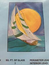 Hidden House Stained Glass Pattern Vintage 1977 Sailboat Moon Water New