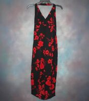 Vintage 90's Steppin' Out Women's Summer Dress Sz 5 / 6 Red Black Halter Floral