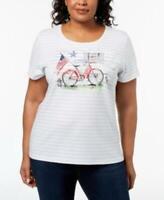 Karen Scott Womens Ladies White Striped Plus Size Bicycle Graphic T-Shirt 2X