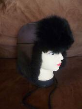 New Zealand Dyed Black Possum Fur Black Leather Trapper Hat