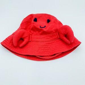 BABY GAP Crab Hat 6-12M Red Bucket Hat Chin Strap Baby Sun Hat Beach Lobster Hat