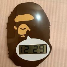 "A BATHING APE Bape Ape Digital Wall Clock Head Brown Hanging  9.4"" 5.9"""