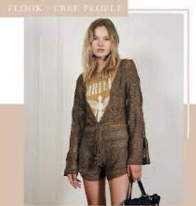 NWT Free People FLOOK Camellia Crochet Playsuit Romper Size XS