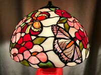 """Antique 15.5"""" Tiffany Style Art Nouveau Stained Slag Glass Butterfly Lamp Shade"""