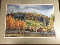 "D Johnson ""Barns And Landscape Scene"" Watercolor Painting - Signed And Framed"