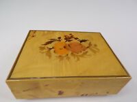 """Vintage Italian Crafted Music Jewelry Box Blond Burl Wood Plays """"Try to Remember"""